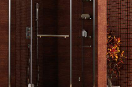 Kabina prysznicowa Etna – nowoczesne półeczki i asymetryczna forma