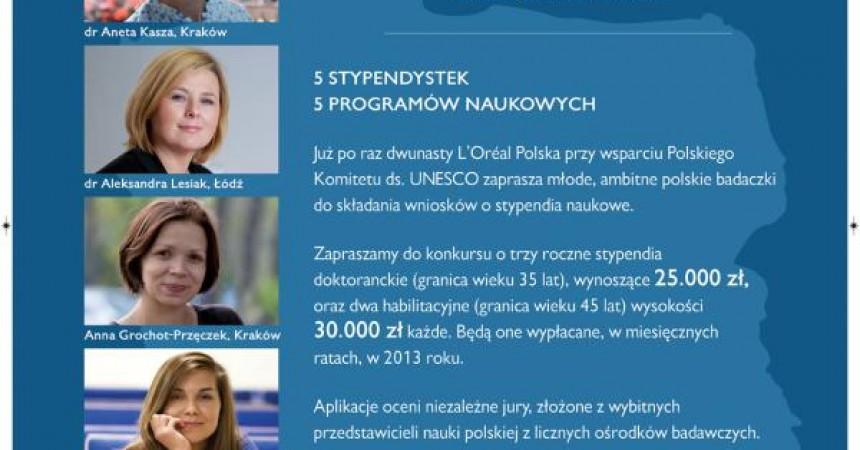 Konkurs stypendialny L'Oreal Polska dla Kobiet i Nauki 2012