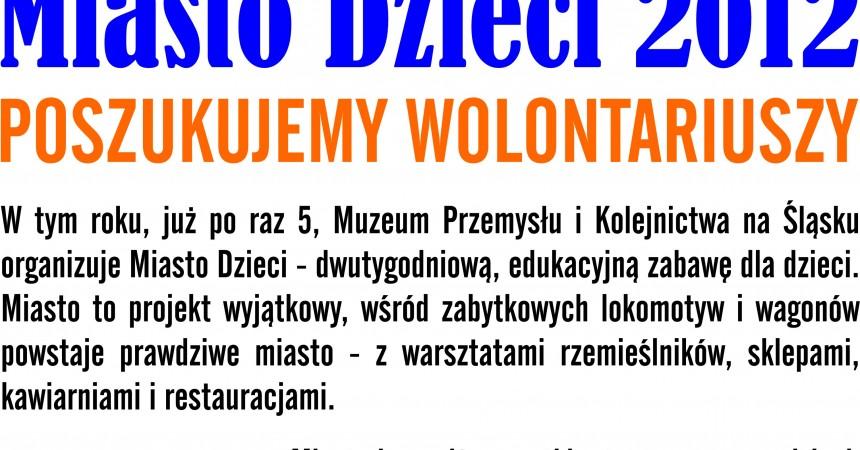 Miasto Dzieci 2012 poszukuje wolontariuszy