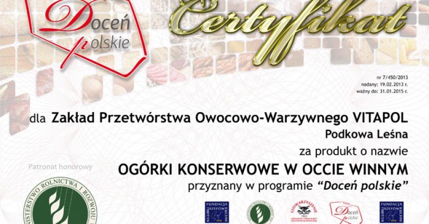 """Certyfikatem """"Doceń polskie"""" nagrodzono 450 produktów"""