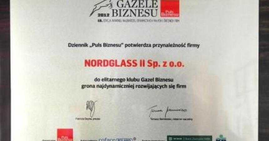 Gazela Biznesu 2012 dla firmy NordGlass II Sp. z o.o.