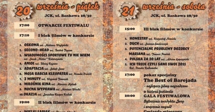 X Festiwal Niezależnych Filmów Komediowych BAREJAda' 2013. 20 – 21 września 2013 r.  www.jck.pl