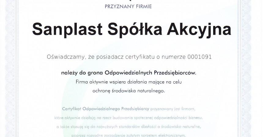 Certyfikat dla firmy Sanplast S.A.
