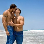 Gay men kissing