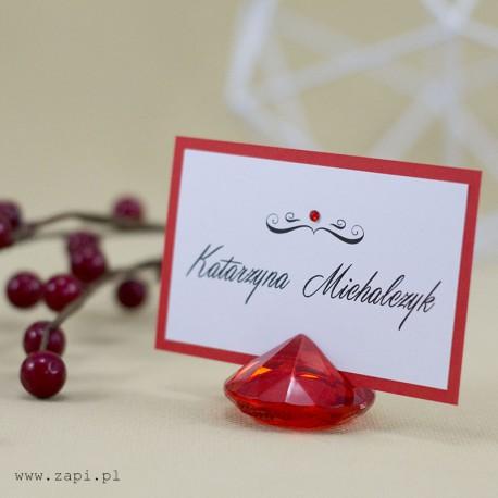 elegancka czerwona winietka w czerwonym krysztale