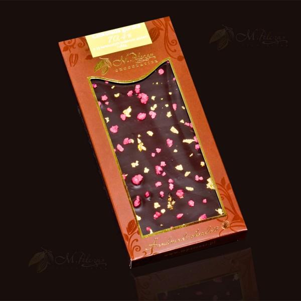 czekolada gorzka z złotem jadalnym i różą